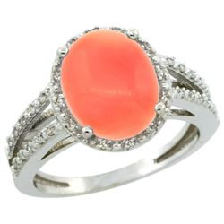 Natural 3.42 ctw Coral & Diamond Engagement Ring 14K White Gold - REF-46V6F