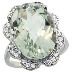 Natural 13.83 ctw green-amethyst & Diamond Engagement Ring 14K White Gold - REF-124W4K