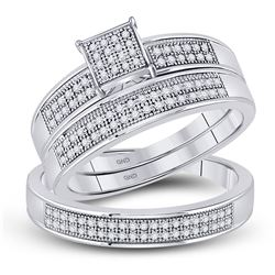 0.33 CTW His & Hers Diamond Cluster Matching Bridal Ring 10KT White Gold - REF-49X5Y