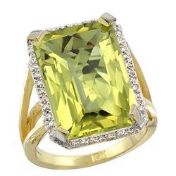 Natural 13.72 ctw Lemon-quartz & Diamond Engagement Ring 14K Yellow Gold - REF-73N9G