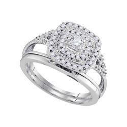 0.33 CTW Diamond Square Halo Bridal Engagement Ring 10KT White Gold - REF-44W9K