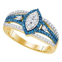 0.85 CTW Blue Color Diamond Halo Cluster Ring 10KT Yellow Gold - REF-44Y9X