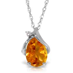 Genuine 1.63 ctw Citrine & Diamond Necklace Jewelry 14KT White Gold - REF-28K3V