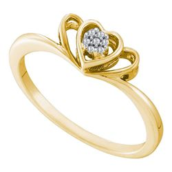 0.03 CTW Diamond Small Triple Heart Cluster Ring 10KT Yellow Gold - REF-12F2N
