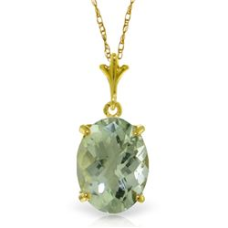 Genuine 3.2 ctw Green Amethyst Necklace Jewelry 14KT Yellow Gold - REF-20W4Y