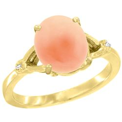 Natural 2.01 ctw Coral & Diamond Engagement Ring 14K Yellow Gold - REF-32N2G