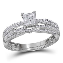 0.50 CTW Princess Diamond Cluster Bridal Engagement Ring 14KT White Gold - REF-52K4W