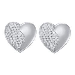0.25 CTW Diamond Heart Stud Earrings 10KT White Gold - REF-36H2M