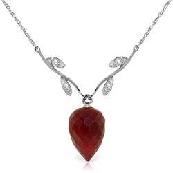 Genuine 13.02 ctw Ruby & Diamond Necklace Jewelry 14KT White Gold - REF-42W2Y