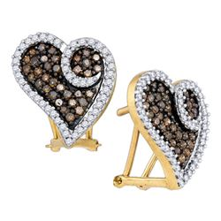 1.04 CTW Brown Color Diamond Heart Earrings 10KT Yellow Gold - REF-52M4H