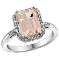 Natural 2.63 ctw Morganite & Diamond Engagement Ring 14K White Gold - REF-60M3H