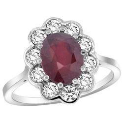 Natural 2.73 ctw Ruby & Diamond Engagement Ring 14K White Gold - REF-104G9M