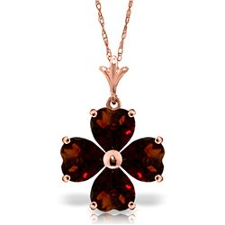 Genuine 3.8 ctw Garnet Necklace Jewelry 14KT Rose Gold - REF-42H2X