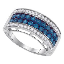 0.45 CTW Blue Color Diamond Triple Row Ring 10KT White Gold - REF-37X5Y