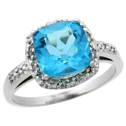 Natural 3.92 ctw Swiss-blue-topaz & Diamond Engagement Ring 14K White Gold - REF-35Z2Y