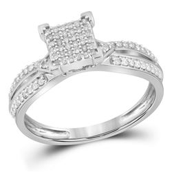 0.25 CTW Diamond Square Cluster Ring 10KT White Gold - REF-25X4Y