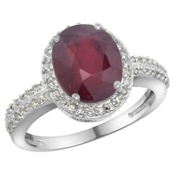 Natural 2.56 ctw Ruby & Diamond Engagement Ring 10K White Gold - REF-37N6G