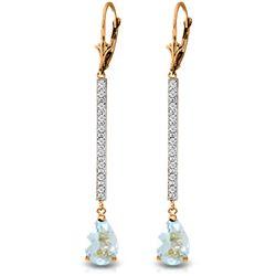 Genuine 3.6 ctw Aquamarine & Diamond Earrings Jewelry 14KT Rose Gold - REF-64H6X