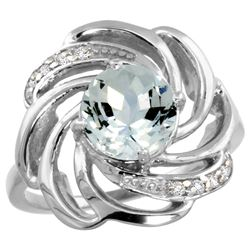 Natural 2.25 ctw aquamarine & Diamond Engagement Ring 14K White Gold - REF-68N5G