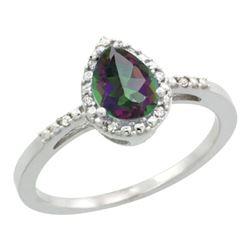 Natural 1.53 ctw mystic-topaz & Diamond Engagement Ring 14K White Gold - REF-25A5V