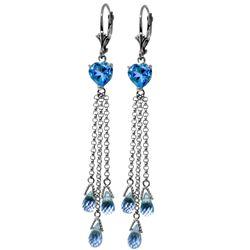 Genuine 9.5 ctw Blue Topaz Earrings Jewelry 14KT White Gold - REF-62R2P