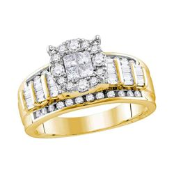 0.99 CTW Princess Diamond Soleil Cluster Bridal Engagement Ring 14KT Yellow Gold - REF-89F9N
