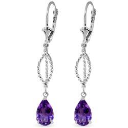 Genuine 3 ctw Amethyst Earrings Jewelry 14KT White Gold - REF-45Z5N