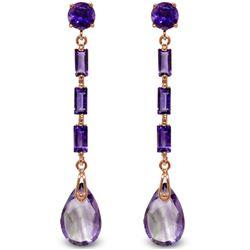 Genuine 8.6 ctw Amethyst Earrings Jewelry 14KT Rose Gold - REF-43X3M