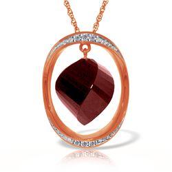 Genuine 15.35 ctw Ruby & Diamond Necklace Jewelry 14KT Rose Gold - REF-124H2X