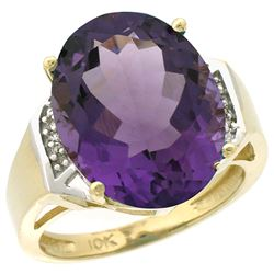 Natural 11.02 ctw Amethyst & Diamond Engagement Ring 10K Yellow Gold - REF-50M9H