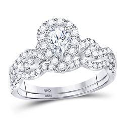 0.97 CTW Pear Diamond Bridal Wedding Engagement Ring 14KT White Gold - REF-142X4Y