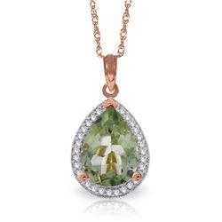 Genuine 3.36 ctw Green Amethyst & Diamond Necklace Jewelry 14KT Rose Gold - REF-69A6K