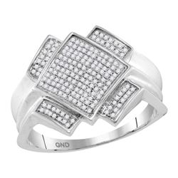0.36 CTW Mens Pave-set Diamond Diagonal Square Cluster Ring 10KT White Gold - REF-44H9M