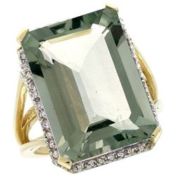 Natural 15.06 ctw green-amethyst & Diamond Engagement Ring 10K Yellow Gold - REF-64N3G