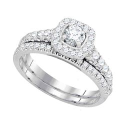 1.01 CTW Diamond Bridal Wedding Engagement Ring 14KT White Gold - REF-172Y4X