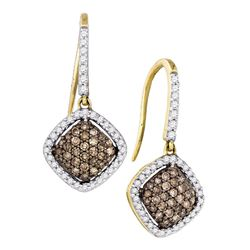 0.60 CTW Cognac-brown Color Diamond Square Dangle Earrings 10KT Yellow Gold - REF-33W8K