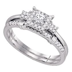 0.30 CTW Princess Diamond Halo Bridal Engagement Ring 10KT White Gold - REF-41N9F