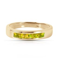 Genuine 0.60 ctw Peridot Ring Jewelry 14KT Yellow Gold - REF-46N2R