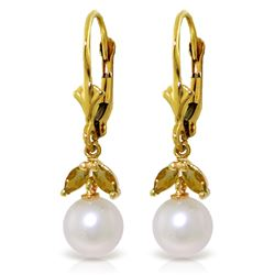 Genuine 4.4 ctw Pearl & Citrine Earrings Jewelry 14KT Yellow Gold - REF-25H3X