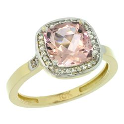Natural 2.11 ctw Morganite & Diamond Engagement Ring 14K Yellow Gold - REF-54Y9X