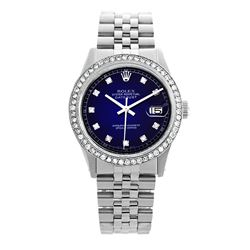 Rolex Pre-owned 36mm Mens Blue Vignette Stainless Steel - REF-580R4M