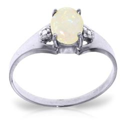 Genuine 0.46 ctw Opal & Diamond Ring Jewelry 14KT White Gold - REF-22N3R