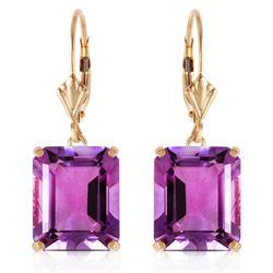 Genuine 13 ctw Amethyst Earrings Jewelry 14KT Yellow Gold - REF-54W2Y