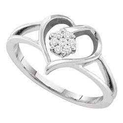 0.08 CTW Diamond Heart Flower Cluster Ring 10KT White Gold - REF-20Y9X