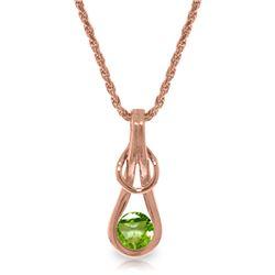 Genuine 0.65 ctw Peridot Necklace Jewelry 14KT Rose Gold - REF-73X7M