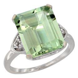 Natural 5.44 ctw green-amethyst & Diamond Engagement Ring 14K White Gold - REF-45F5N