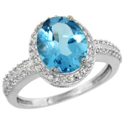 Natural 2.56 ctw Swiss-blue-topaz & Diamond Engagement Ring 14K White Gold - REF-42Z2Y