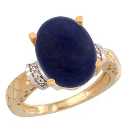 Natural 5.53 ctw Lapis & Diamond Engagement Ring 14K Yellow Gold - REF-54F3N
