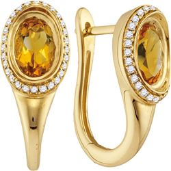 1.57 CTW Oval Natural Citrine Diamond Hoop Earrings 14KT Yellow Gold - REF-87N2F