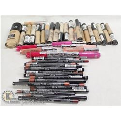 BAG OF ASSORTED MAKEUP INCL CONCEALER, LIP LINERS,